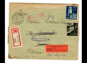 Interniertenpost GG: R-Brief portogerecht nach Henniez von Przemysl, 2x Zensur