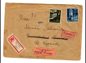 Interniertenpost GG: R-Brief portogerecht nach Oberegg von Przemysl, 2x Zensur