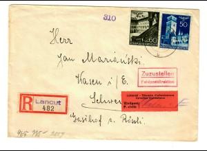 Interniertenpost GG: R-Brief portogerecht nach Wasen von Lancut, 2x Zensur