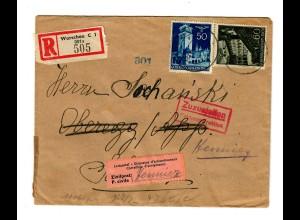 Interniertenpost GG: R-Brief portogerecht nach Henniez von Warschau, 2x Zensur