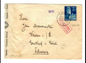 Interniertenpost GG: Brief portogerecht von Lancut nach Wasen, 2x Zensur