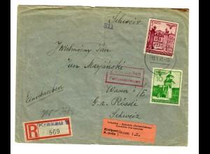 Interniertenpost GG: R-Brief portogerecht von Krakau nach Wasen, 2x Zensur