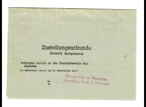 GG 1944: Zustellurkunde des Burggerichts in Muszyna - Krynci-seli