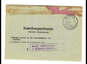 GG 1943: Zustellurkunde aus Rabka/Krakau
