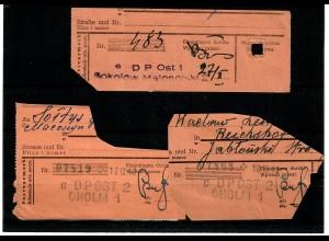 GG: Paketkartenausschnitte mit Stempeln Cholm und Sokolow