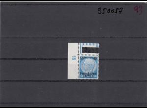GG: Generalgouvernement MiNr. 8, **, postfrisch, DKZ 16L1c, Eckrand