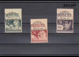 GG Generalgouvernement MiNr. 56-58, gestempelt Krakau, Oberrand