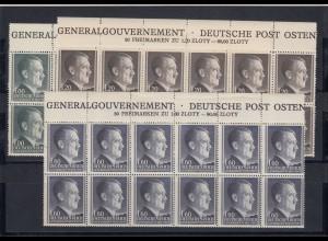 GG Generalgouvernement MiNr. 86A, 87A, 88B, **, Oberrandstreifen 2x Inschrift
