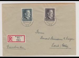 GG Generalgouvernement MiNr. 86A, 87A, FDC 7.4.42, Einschreiben Krakau