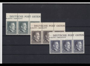 GG Generalgouvernement MiNr. 86-88B, Oberrand mit Inschrift, **