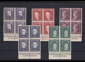 GG Generalgouvernement MiNr. 96-100, ** Viererblock Unterrand