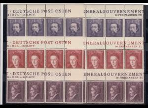 GG Generalgouvernement MiNr. 96-100, **Oberrand Streifen, 2x Inschrift