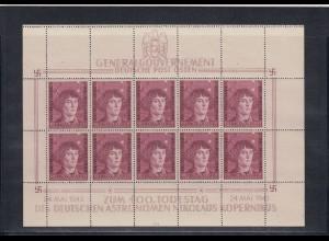 GG Generalgouvernement MiNr. 104 **, Kleinbogen I/3, 1x Plattenfehler, Feld 4 und Leerfeld