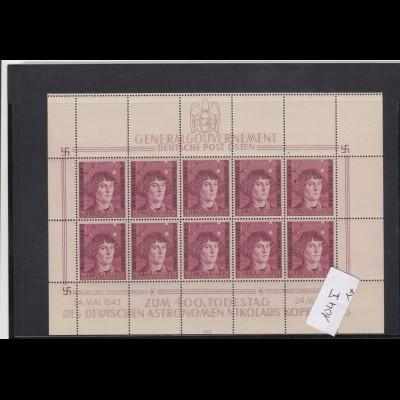 GG Generalgouvernement MiNr. 104 **, Kleinbogen I/3, 1x Plattenfehler, Feld 9 und Leerfelder