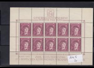 GG Generalgouvernement MiNr. 104 **, Kleinbogen I/3, 2x Plattenfehler, Feld 4/9 und Leerfelder
