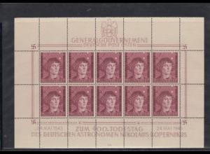 GG Generalgouvernement MiNr. 104 **, Kleinbogen I/4, gebrochene Achse, Leerfelder