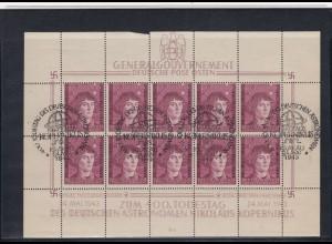 GG Generalgouvernement MiNr. 104 gestempelt, Kleinbogen II/1