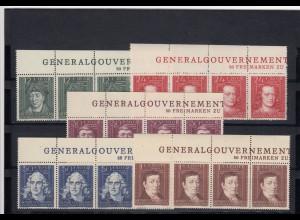 GG Generalgouvernement MiNr. 120-124, **, Oberrand Inschrift GG, gezähnter Rand