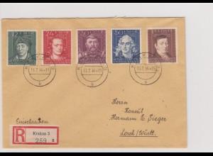 GG Generalgouvernement MiNr. 120-124, FDC 15.7.44, R-Brief Krakau