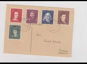 GG Generalgouvernement MiNr. 120-124, gestempelt auf Postkarte