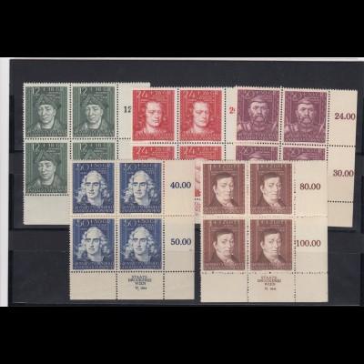 GG Generalgouvernement MiNr. 120-124, **, Viererblock Eckrand VE4, Druckerei