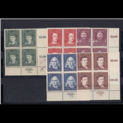GG Generalgouvernement MiNr. 120-124, **, VE4, Viererblock Eckrand, Druckerei