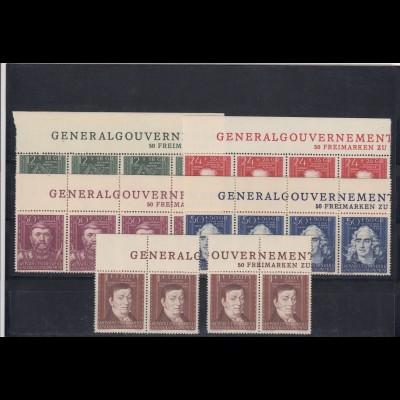 GG Generalgouvernement MiNr. 120-124, **, Oberrand Inschrift GG