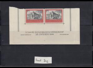 GG Generalgouvernement MiNr. 125, **, Eckrand E3/E4, Bug im Rand, SektorNr. 4