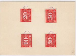 GG Generalgouvernement MiNr. Z1-4 gestempelt Przeslavice Karte mit Ovalstempel