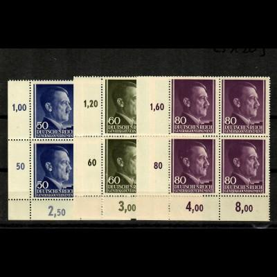 GG Generalgouvernement MiNr. 110-112, **, postfrisch, VE3, Viererblock