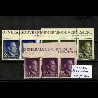 GG Generalgouvernement MiNr. 110-112, **, postfrisch, Oberrand Inschrift