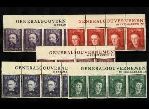 GG Generalgouvernement MiNr. 96-100, ** postfrisch, Inschrift GG