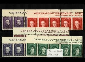 GG Generalgouvernement MiNr. 96-100, ** postfrisch, Inschrift GG - lang