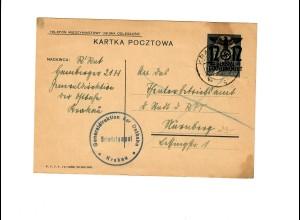 Ganzsache GG P 3II 06-1938: 21.09.40 Krakau, Ostbahn nach Nürnberg