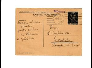 Ganzsache GG P 3II 06-1938: 13.08.40 Warschau/Postagentur Milosna