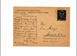 Ganzsache GG P 3II 06-1938: 29.07.40 Krakau nach Ausschwitz