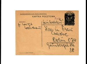 Ganzsache GG P 3II 07-1938: 14.8.40 Postagentur Anin über Warschau nach Berlin