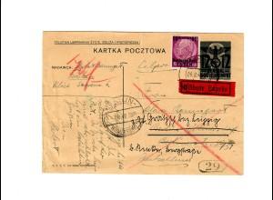 Ganzsache GG P 3II 07-1938: Eilbote 6.8.40 Krakau nach Berlin