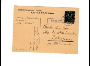 Ganzsache GG P 3II 08-1938: Postagentur Swoszowice/Krakau nach Zakopane
