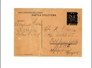 Ganzsache GG P 3II 08-1938: 4.9.40 Radzyn an FeldpostNr. 16349
