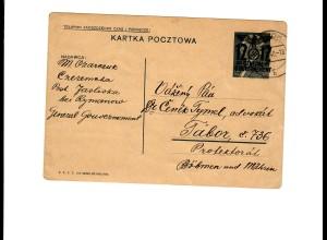 Ganzsache GG P 3II 08-1938: 31.07.40 Sanok, Jasliska nach Tabor/B&M, Übersetzung
