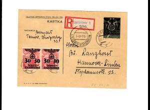 Ganzsache GG P 3II 07-1939: 1.6.40 als Einschreiben Tarnow nach Hannover