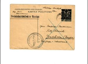 Ganzsache GG P 3II 06-1939: 17.7.40 Ostbahn Warschau nach Zweibrücken