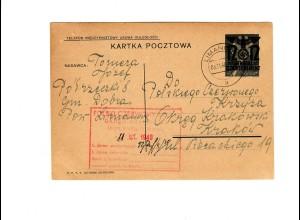 Ganzsache GG P 3II 06-1939: 3.11.40 Limanowa nach Krakau, Rotes Kreuz