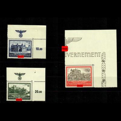 GG: MiNr. 63-65, postfrisch, **, Eckrand E2