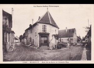 post card Marnay: Rue del al Gare et Grande rue