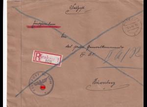 Feldpost Einschreiben Krakau 1, FPNr. 23048 an XIII AK Nürnberg