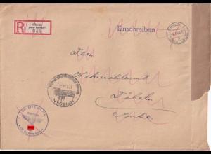 Feldpost Einschreiben Cholm nach Döbeln, dann Döbeln nach Meissen 1944