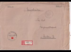 Feldpost Einschreiben Lublin nach Meissen 1942