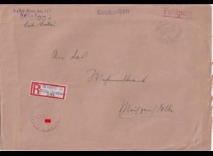 Feldpost Einschreiben Mielec/Krakau nach Meissen